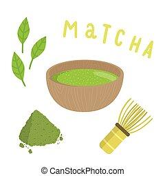vervaardiging, set, tea., matcha