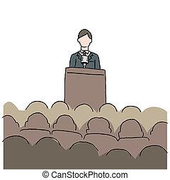 vervaardiging, toespraak, publiek, man