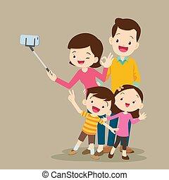 vervaardiging, vrolijke , selfie, gezin