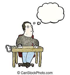 verveeld, werken, spotprent, man