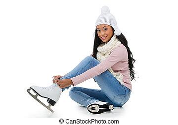 vervelend, afro-amerikaanse vrouw, zittende , skates,...