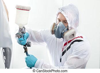 vervelend, airbrush., jonge, respirator, gebruik, witte , schilderij, kap, man