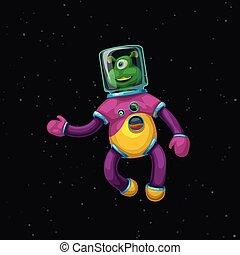 vervelend, alien, spacesuit, spotprent, ruimte
