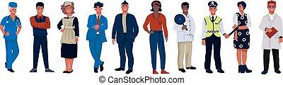 vervelend, anders, set, occupations., beroepen, spotprent, personen, vector, gevarieerd, karakters, professioneel, werkmannen , uniform.