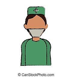vervelend, arts, medische eenvormig, chirurg, spotprent, kleren