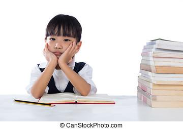 vervelend, aziaat, chinees, klein meisje, vervelend, eenvormige school, studerend