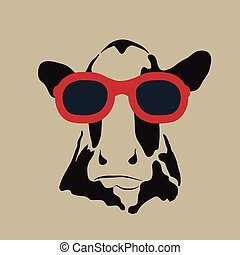 vervelend, beeld, vector, glasses., koe