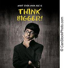 vervelend, bigger., jongetje, denken, bril, genie, denken