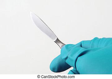 vervelend, blauwe , medisch, hand, handschoenen, scalpel