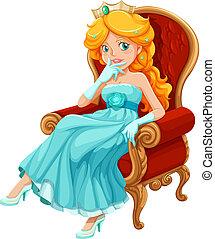 vervelend, blauwe , prinsesje, toga