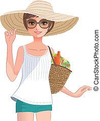 vervelend, breed, stro, het poseren, mooi, hat., meisje, brimmed