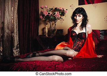 vervelend, brunette, slank, bed., vrouw, het poseren, lingerie., sexy, dame, sensueel