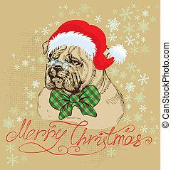 vervelend, bulldog, ouderwetse , claus, -, illustratie, hand, kerstman, getrokken, hoedje, kerstmis kaart