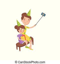 vervelend, dochter, haar, foto, selfie, illustratie, spotprent, vector, boeiend, moeder, partij hoeden