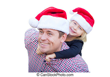 vervelend, dochter, hoedjes, vader, vrijstaand, achtergrond., kerstman, witte , vrolijke