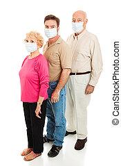 vervelend, -, epidemie, maskers, gezicht
