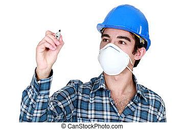 vervelend, felt-topen af, masker, arbeider, gezicht, pen,...