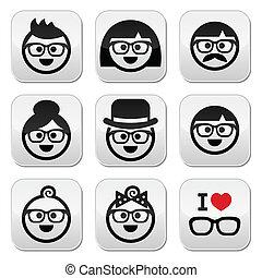 vervelend, geeks, mensen, bril, iconen