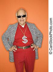 vervelend, geld, necklace., man, meldingsbord