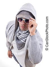 vervelend, grijs, stijl, zonnebrillen, tiener, modieus, sweatshirt, kap, mooi