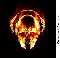 vervelend, groot, het vlammen, schedel, beeld, headphones