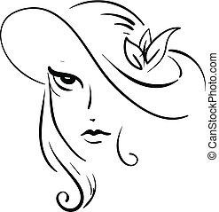 vervelend, haar, kleur, pet, langharige, vector, illustratie, mooi, kunstwerk, dame, of, ontworpen