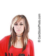 vervelend, hairstyle, vrouwlijk, verticaal, schot., punker, ...
