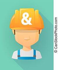 vervelend, helm, arbeider, en-teken, avatar, veiligheid, mannelijke