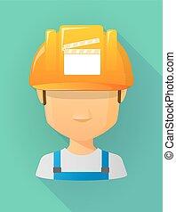 vervelend, helm, arbeider, veiligheid, avatar, mannelijke , clapperboard