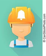 vervelend, helm, arbeider, veiligheid, avatar, mannelijke