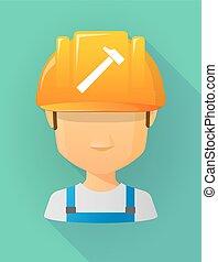 vervelend, helm, arbeider, veiligheid, avatar, mannelijke , hamer