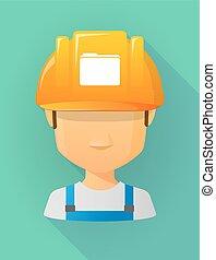 vervelend, helm, arbeider, veiligheid, avatar, map, mannelijke