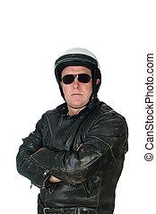 vervelend, helm, lederene colbert, biking, man
