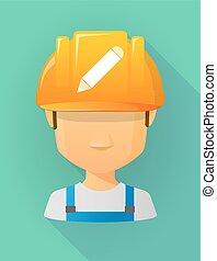 vervelend, helm, potlood, arbeider, veiligheid, avatar, mannelijke