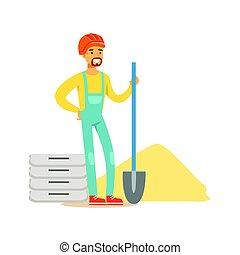 vervelend, helm, schop, kleurrijke, arbeider, werken, karakter, illustratie, staand, vector, sinaasappel, bouwsector, kleren