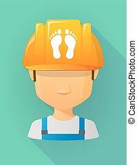 vervelend, helm, voetafdrukken, arbeider, twee, veiligheid, avatar, mannelijke