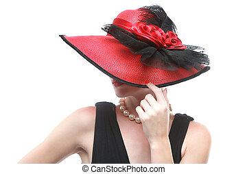 vervelend, hoedje, achtergrond, witte , dame, rood