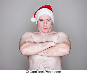 vervelend, hoedje, kerstman, man