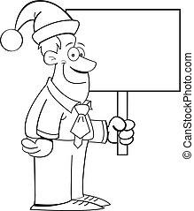 vervelend, hoedje, spotprent, kerstman, man