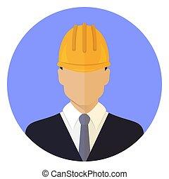 vervelend, hoofd, mannelijke , helmet., aannemer