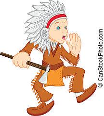 vervelend, jongen, amerikaan indiaas, kostuum
