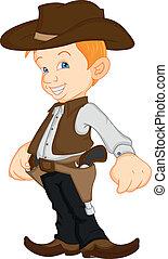 vervelend, jongen, cowboy, kostuum, westelijk