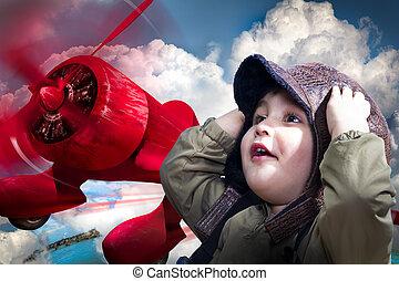 vervelend, jongen, hoofd, zijn, planeputting, op, pilot's, handen, baby, schattige, ouderwets, rood