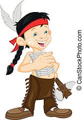 vervelend, jongen, indiaans kostuum