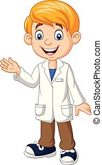 vervelend, jongen, jas, laboratorium, zwaaiende , wetenschapper, witte , spotprent
