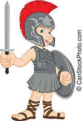 vervelend, jongen, romein, kostuum, soldaat