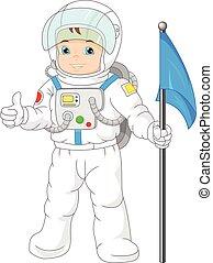 vervelend, jongen, weinig; niet zo(veel), astronau, spotprent
