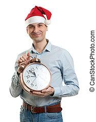 vervelend, klok, groot, kerstmuts, man