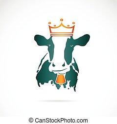 vervelend, koe, beeld, kroon, vector, achtergrond, witte
