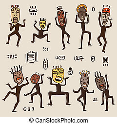 vervelend, masks., het dansen cijfers, afrikaan